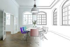 Innenarchitektur-Büro-Zeichnungs-Abstufung in Fotografie Stockbild