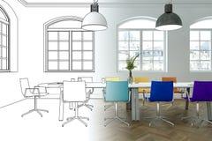Innenarchitektur-Büro-Zeichnungs-Abstufung in Fotografie Lizenzfreie Stockfotografie