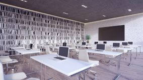 Innenarchitektur 3d des modernen Klassenzimmers überträgt lizenzfreie stockfotografie