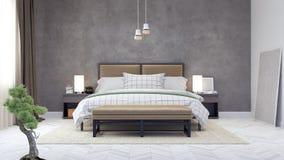 Innenarchitektur 3d des modernen Schlafzimmers überträgt Illustration 3d Lizenzfreies Stockfoto