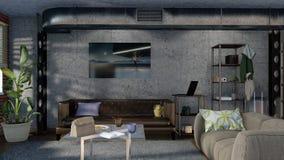Innenarchitektur 3D des modernen unbedeutenden Wohnzimmers Stockfotografie