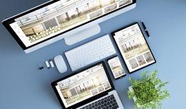 Innenarchitektur der blauen Geräte der Draufsicht stockfotografie