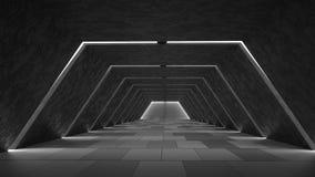 Innenarchitektur des abstrakten futuristischen dunklen Korridors Zukünftiges Konzept Abbildung 3D Lizenzfreie Stockfotos