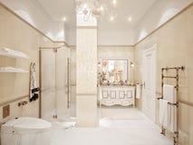Innenarchitektur Des Klassischen Badezimmers Mit Gold Und Beige Fliesen  Lizenzfreies Stockbild