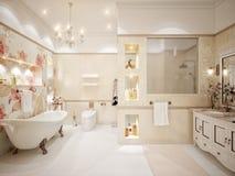 Innenarchitektur Des Klassischen Badezimmers Mit Gold Und Beige Fliesen Und  M Lizenzfreies Stockfoto