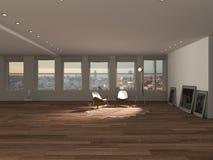 Innenarchitektur des leeren Dachbodens, Wohnzimmer mit Lehnsesseln, Kuhkarpfen lizenzfreie abbildung
