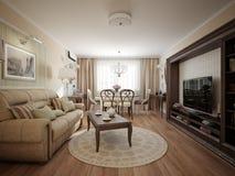Innenarchitektur des modernen klassischen Wohnzimmers und des Esszimmers Lizenzfreie Stockfotografie