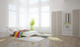 Innenarchitektur des weißen Schlafzimmers Stockfotografie