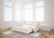 Innenarchitektur des weißen Schlafzimmers Stockbilder