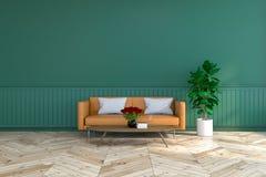 Innenarchitektur des Weinleseraumes, braunes ledernes Sofa auf hölzernem Bodenbelag und tiefgrüne Wand /3d übertragen stockfotos
