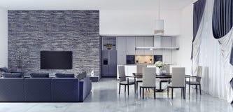 Innenarchitektur des Wohnzimmers und der Küche Stockfoto