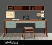 Innenarchitektur eines Arbeitsplatzes im altem Stil Lizenzfreies Stockfoto