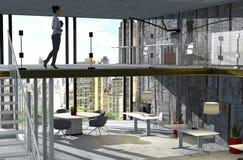 Innenarchitektur für ein Studio, ein Büro in einem Dachboden innerhalb eines Wolkenkratzers Arbeitsplätze und Parkblick Lizenzfreie Stockfotos
