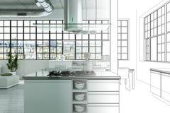 Innenarchitektur-moderne Dachboden-Zeichnungs-Abstufung in Fotografie Stockfoto