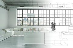 Innenarchitektur-moderne Dachboden-Zeichnungs-Abstufung in Fotografie Stockbild