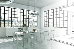 Innenarchitektur-moderne Dachboden-Zeichnungs-Abstufung in Fotografie Stockfotografie
