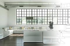 Innenarchitektur-moderne Dachboden-Zeichnungs-Abstufung in Fotografie Lizenzfreies Stockfoto