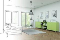 Innenarchitektur-moderne Dachboden-Zeichnungs-Abstufung in Fotografie Lizenzfreies Stockbild