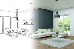 Innenarchitektur-moderne Dachboden-Zeichnungs-Abstufung in Fotografie Lizenzfreie Stockfotos
