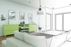 Innenarchitektur-moderne Dachboden-Zeichnungs-Abstufung in Fotografie Lizenzfreie Stockbilder