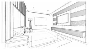 Innenarchitektur: Schlafzimmer Stockbild