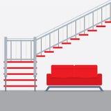 Innenarchitektur-Treppe mit Sofa Lizenzfreies Stockbild