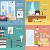 Innenarchitektur von Büro-Räumen mit Möbeln Stockfotografie