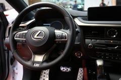 Innenarchitektur von Lexus NX 300h angezeigt an der 3. Ausgabe von MOTO-ZEIGUNG in Krakau Polen Lizenzfreie Stockfotos