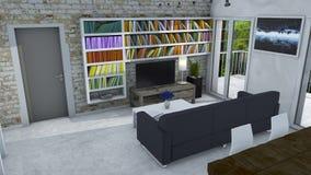 Innenarchitektur, Wohnzimmer und moderne Möbel, Backsteinmauer, Fenster, das einen Park übersieht Prestigevolles Penthaus Seat in Stockbilder