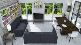 Innenarchitektur, Wohnzimmer und moderne Möbel, Backsteinmauer, Fenster, das einen Park übersieht Prestigevolles Penthaus Seat in Stockfoto