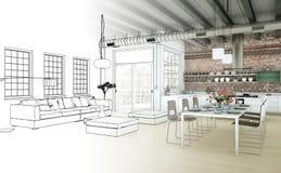 Innenarchitektur-Wohnzimmer-Zeichnungs-Abstufung in Fotografie Lizenzfreies Stockfoto