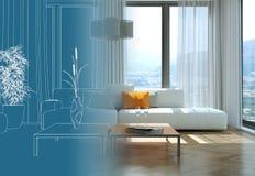 Innenarchitektur-Wohnzimmer-Zeichnungs-Abstufung in Fotografie Stockbilder