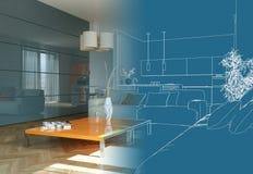 Innenarchitektur-Wohnzimmer-Zeichnungs-Abstufung in Fotografie Stockfotografie