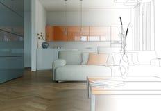 Innenarchitektur-Wohnzimmer-Zeichnungs-Abstufung in Fotografie Lizenzfreies Stockbild