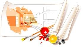 Innenarchitektur-Zeichnungen Stockfotos