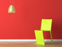 Innenarchitekturgrünwand fuxia Couch und Lampe Stockfotografie