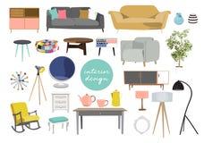 Innenarchitekturillustration des Vektors Sammlungssatz Elemente modische Möbel des Designers Tabellenstuhl-Sofalampenspiegel-Anla stockbilder