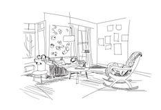 Innenarchitekturillustration Des Vektors Wohnzimmer Mobel Hand Gezeichnete Aquarellskizze Mitte Jahrhunderts Modern Danisch D Stockfotografie
