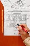 Innenarchitekturzeichnungen Stockbild