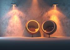 Innenaufbau mit zwei Kugelstühlen Stockfotos