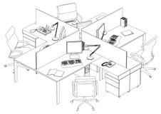 Innenbüro-Raum-Vektor Stockfotos