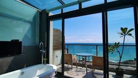 Innenbahnschuß des schönen Seeansichtbadezimmers stock footage