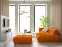 Innenillustration des Raumes 3D des modernen Designs Stockfotos