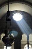 Innenkathedralende Santiago de Compostela, Spanien stockbilder