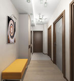 Innenkorridor mit Türen in der Wohnung Stockfotos