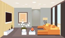 Innenleeres des zeitgenössischen Wohnzimmers kein moderner Wohnungshauptentwurf der Leute flach horizontal stock abbildung