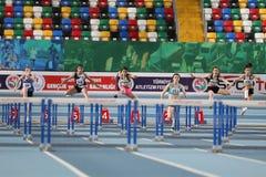 Innenleichtathletik-Aufzeichnungs-Versuchs-Rennen Stockfoto