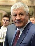 Innenminister der Russischen Föderation Vladimir Kolokoltsev am internationalen Ausstellung ` Interpolitex-` lizenzfreie stockbilder