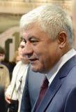 Innenminister der Russischen Föderation Vladimir Kolokoltsev am internationalen Ausstellung ` Interpolitex-` stockbild