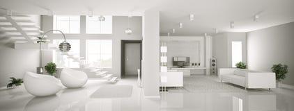 Innenpanorama 3d der weißen Wohnung Stockfotos